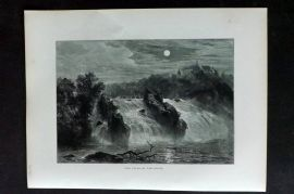 Picturesque Europe 1870s Antique Print. Falls of the Rhine, Germany